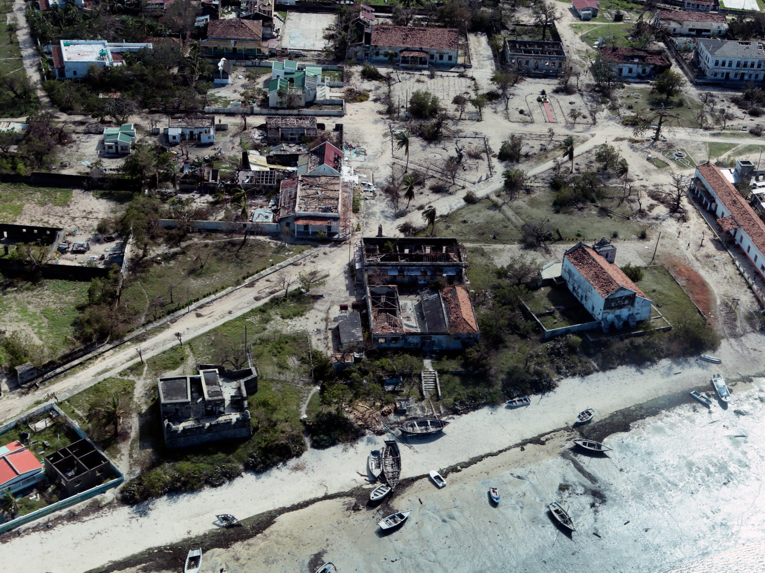 An aerial shot shows widespread destruction Cyclone Kenneth caused when it struck Ibo island north of Pemba city in Mozambique, Wednesday, May, 1, 2019. The government has said more than 40 people have died after the cyclone made landfall, and the humanitarian situation in Pemba and other areas is dire. More than 22 inches of rain have fallen in Pemba since Kenneth arrived just six weeks after Cyclone Idai tore into central Mozambique.