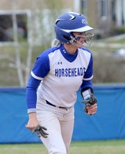 Kendal Cook of Horseheads gets set to lead off against Vestal on April 30, 2019 at Horseheads Middle School.