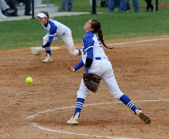 Maddie Rogers delivers a pitch for Horseheads on the way to a no-hitter April 30, 2019 at the Horseheads Middle School field.