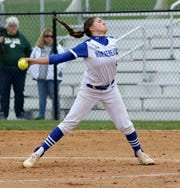 Maddie Rogers of Horseheads delivers a pitch against Vestal on her way to a no-hitter April 30, 2019 at Horseheads Middle School.