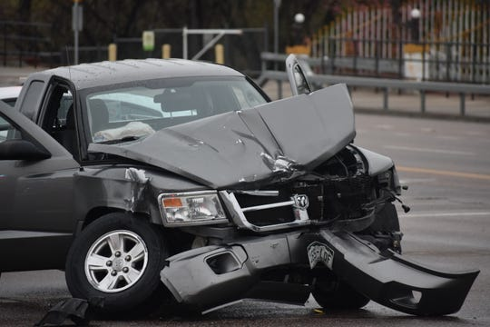 This is the pickup truck that crashed into a Ford Mustang that was driven by suspected car thieves in Timnath early Wednesday morning.