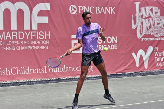 Jose Olivares bounced back from a first-set thrashing to vanquish hard-hitting qualifier Baker Newman 2-6, 6-1, 6-2 to advance to the second round in the Mardy Fish Children's Foundation Tennis Championships at The Boulevard tennis club.