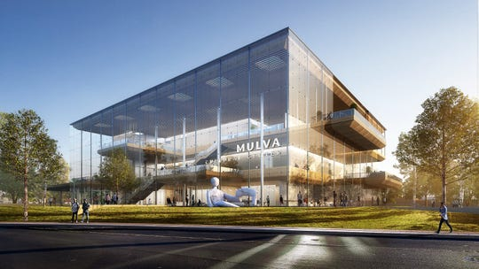 An artist's rending by SOM architects of the proposed Mulva Cultural Center in De Pere
