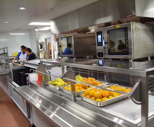 The meal line at Oconto Middle School, seen in a 2015 file photo after the facility had been remodeled.