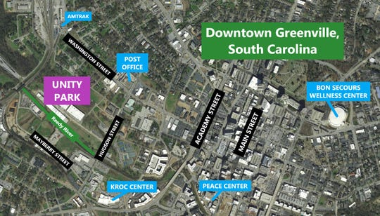 The future Unity Park broke ground May 2, 2019. It is just west of west of downtown Greenville, bounded by Washington, Hudson and Mayberry streets and the Norfolk Southern Railroad line.