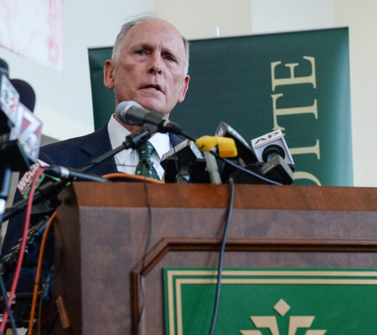 UNC Charlotte Chancellor Philip Dubois speaks during a press conference a day after the school shooting at UNC Charlotte Wednesday, May 1, 2019.  (Ken Ruinard/ Independent Mail / USAToday / 2019)