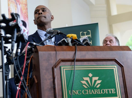 Charlotte Mecklenburg Chief of Police Kerr Putney speaks during a press conference about the school shooting at UNC Charlotte Wednesday, May 1, 2019.  (Ken Ruinard/ Independent Mail / USAToday / 2019)
