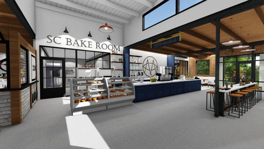A rendering of the interior space of The Commons shows where Methodical Coffee and Bake Room's spaces will be.