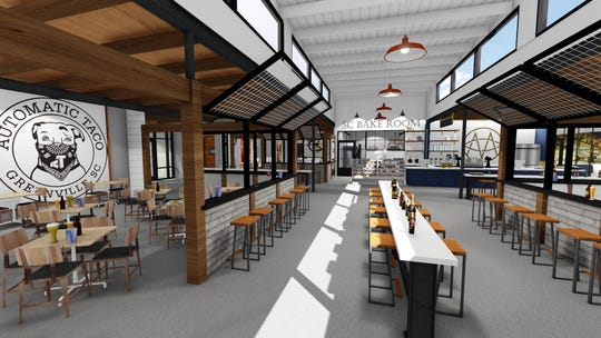 Another angle shows Automatic Taco's space, as well as the common area inside The Commons.