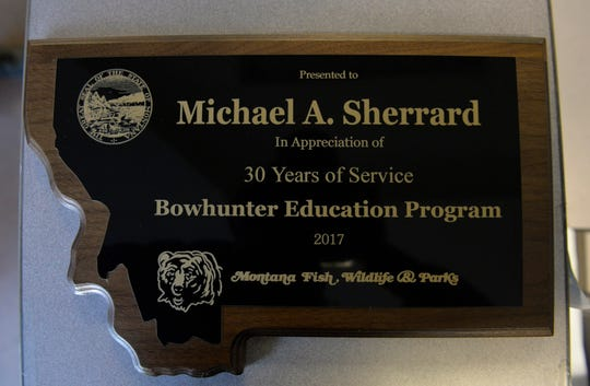 Michael Sherrard was awarded an appreciation award in 2017 for 30 years of service in the Montana Fish, Wildlife and Parks Bowhunter Education Program.