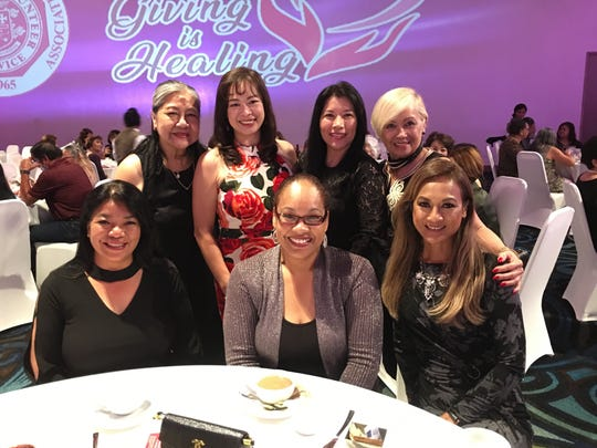 Board members of the Guam Council of Women's Club celebrating and supporting the Guam Memorial Hospital Volunteers Association 54th annual Charity Ball at the Dusit Thani Hotel, April 6. Seated from left: Anna Marie Pelobello (recording secretary), Jessica Castro (president), Geri Cordova (treasurer). Back left: Dorothy Borlas (immediate past president ), Judy HO (member-at-large) and Erlinda Alegre (vice president).