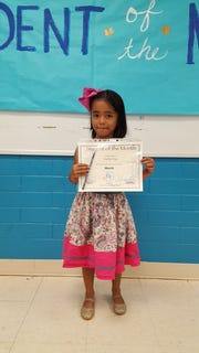 Carly Cruz, kindergarten student at Guahan Academy Charter School and March Student of the Month pictured on April 11.
