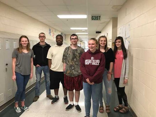 Henderson County High School's April 2019 students of the month are, from left: Hannah Martin, Kaleb Phillips, Jermi Forte, Seth Warren, Ashton Wilson, Ashley Wolfe and Hailey Cates. Not pictured: Carson Crafton, Claire Vowels, Kaitlyn Bowley, Jacy Elliott and McKenzie Bartlett.
