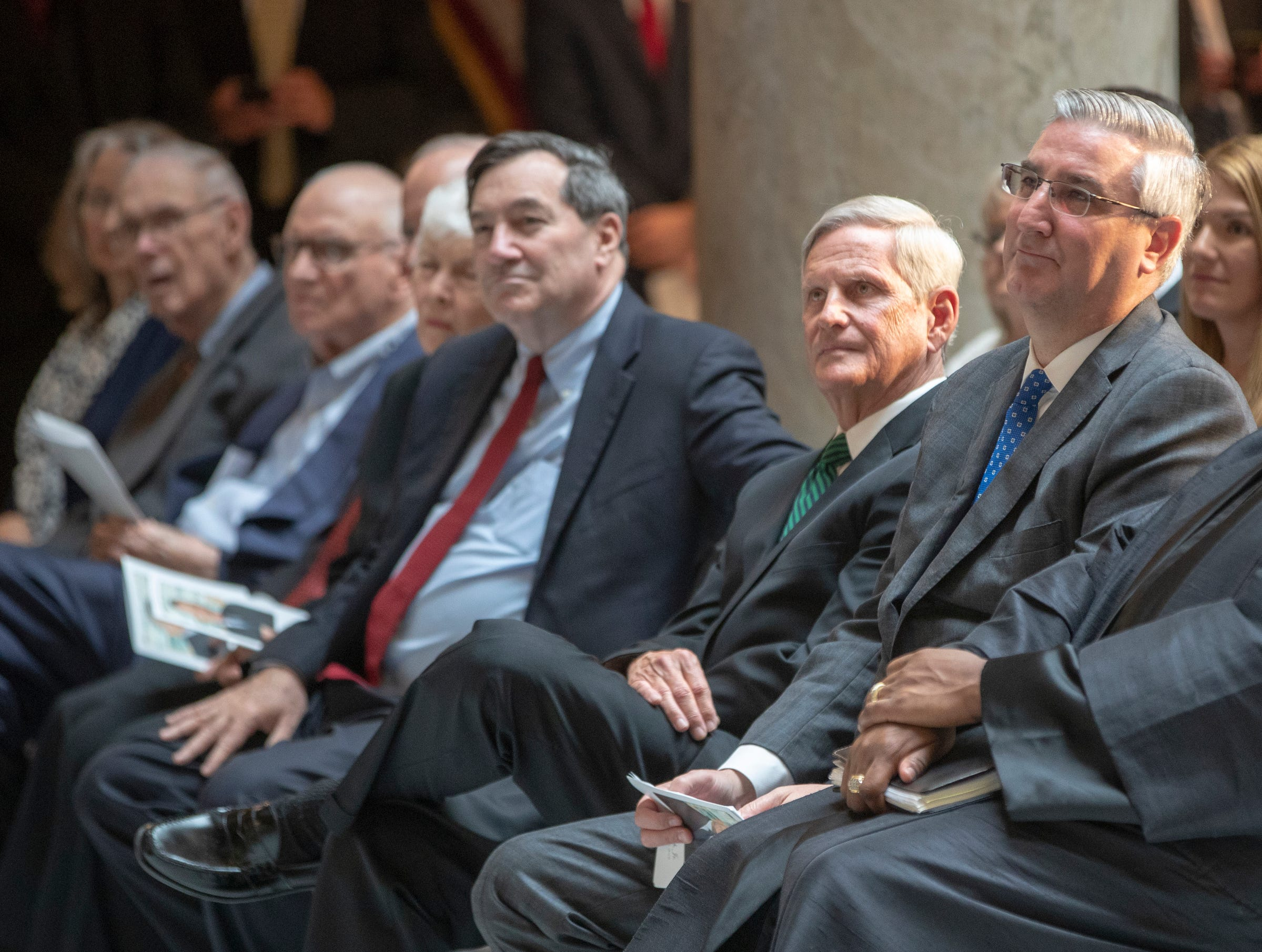 Dignitaries during a service for Indiana's Birch Bayh, who died on March 14, and was a three-term U.S. Senator, Indiana Statehouse, Indianapolis, Wednesday, May 1, 2019.
