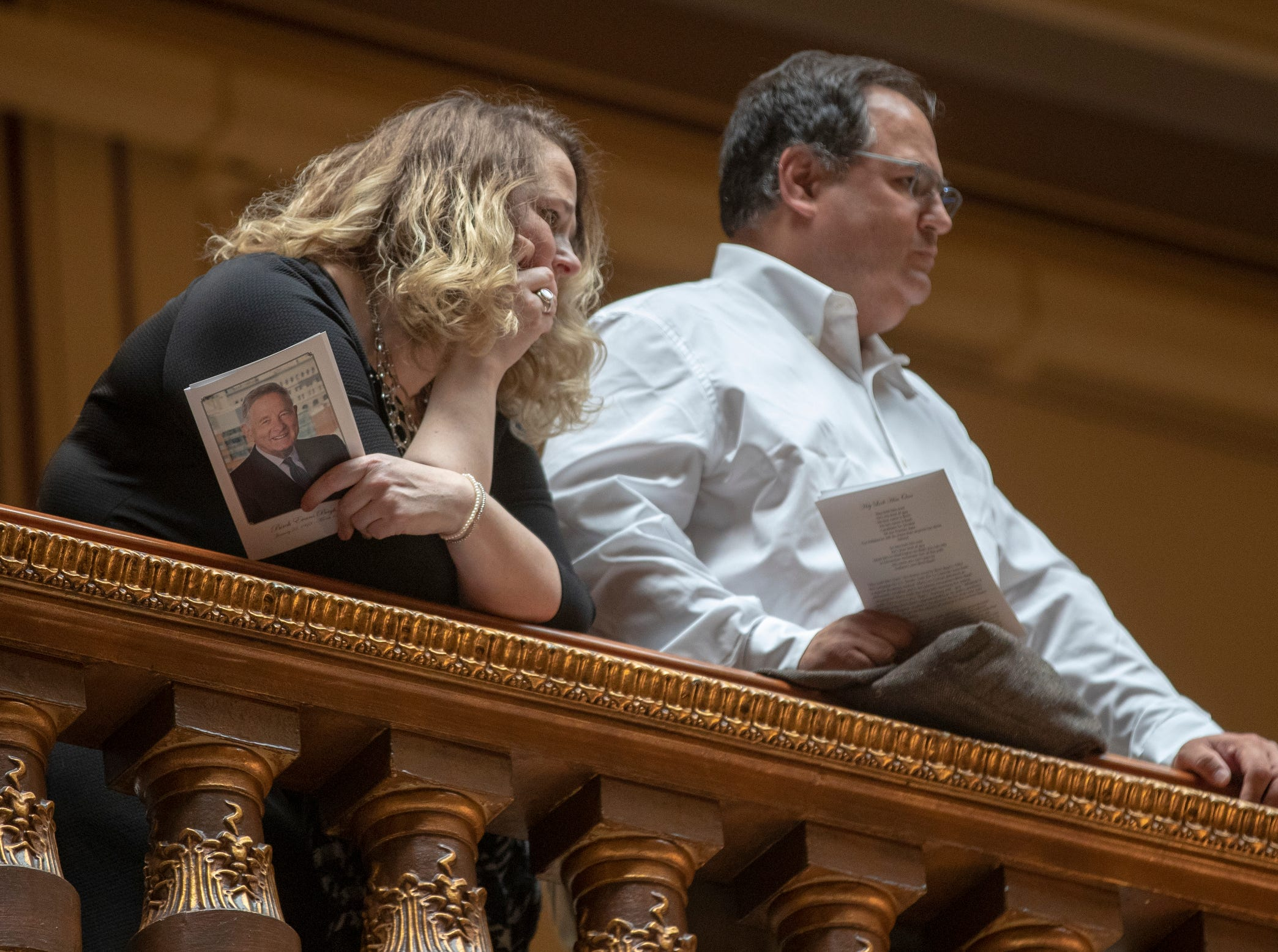 People watch a service for Indiana's Birch Bayh, who died on March 14, and was a three-term U.S. Senator, Indiana Statehouse, Indianapolis, Wednesday, May 1, 2019.