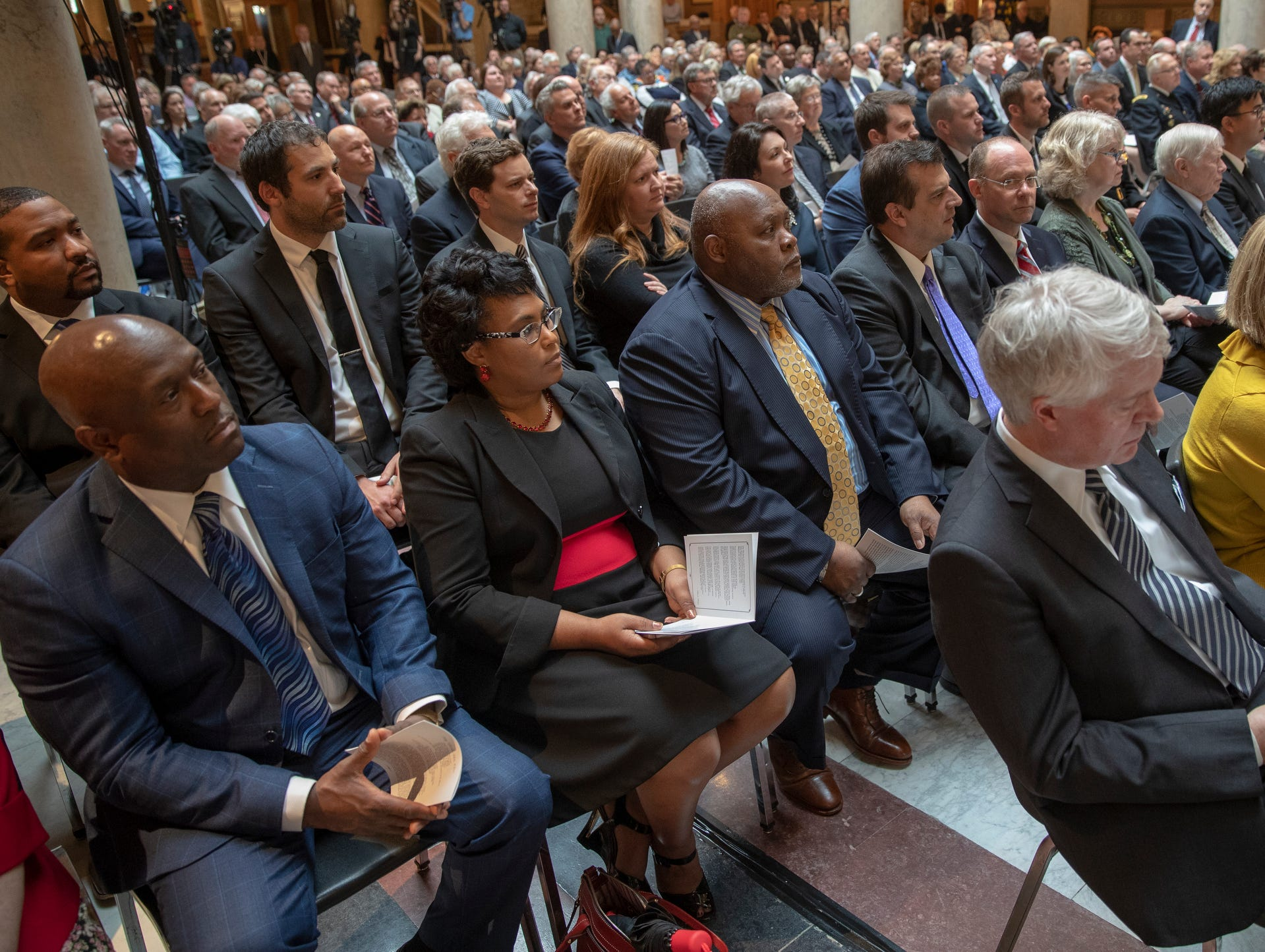 A service for Indiana's Birch Bayh, who died on March 14, and was a three-term U.S. Senator, Indiana Statehouse, Indianapolis, Wednesday, May 1, 2019.