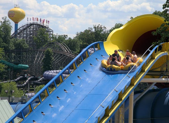 Adventure seekers take a ride on the Mammoth at Holiday World & Splashin' Safari in Santa Claus, Ind.