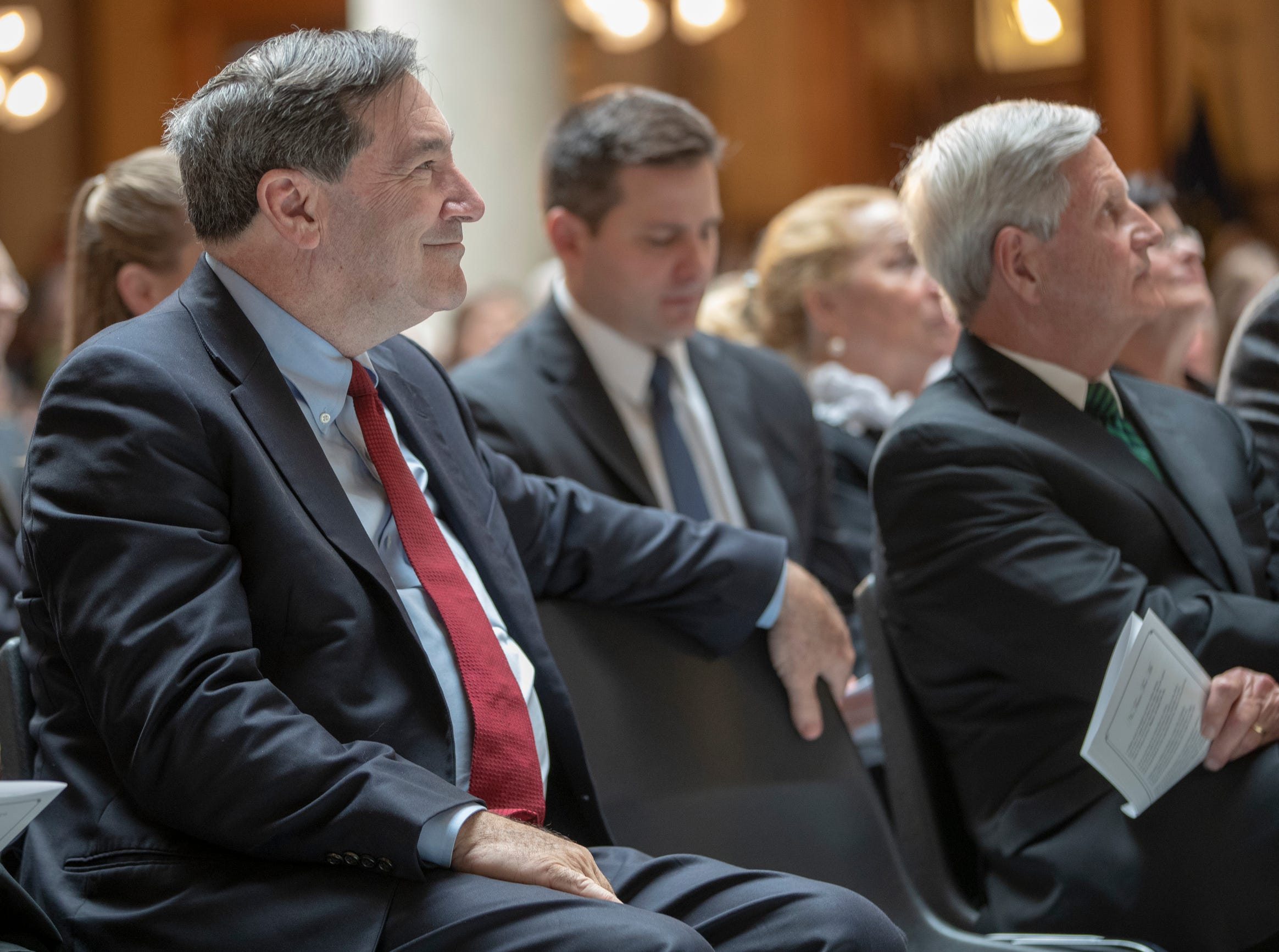 Joseph Donnelly, former U.S. Senator, during a service for Indiana's Birch Bayh, who died on March 14, and was a three-term U.S. Senator, Indiana Statehouse, Indianapolis, Wednesday, May 1, 2019.