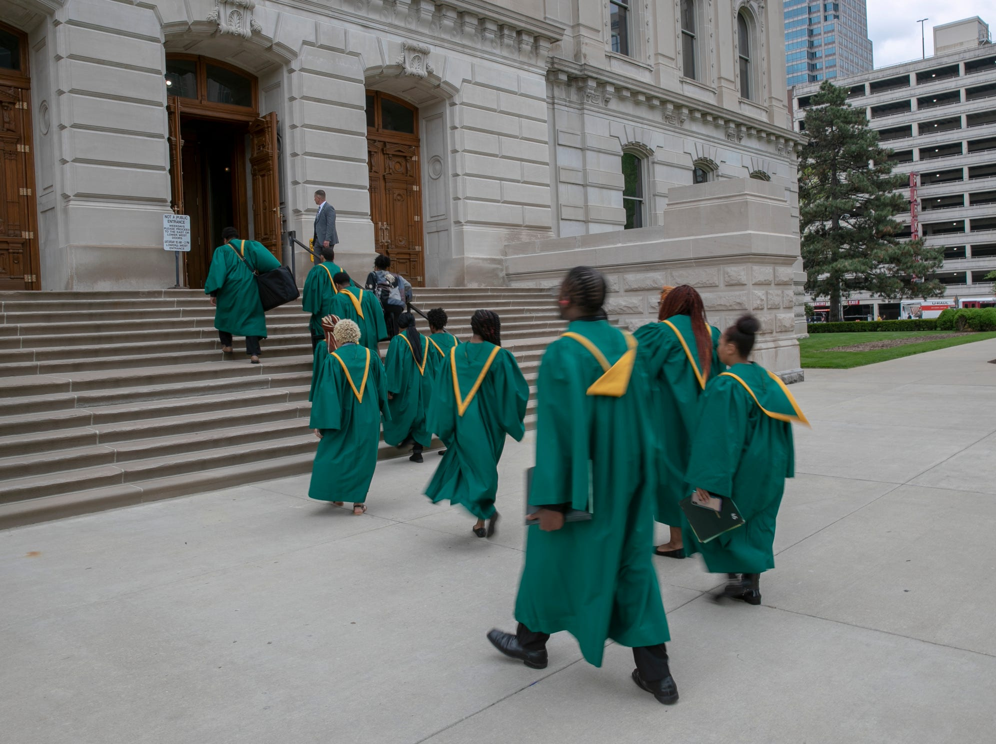 Singers from Crispus Attucks High School walk toward a service for Indiana's Birch Bayh, who died on March 14, and was a three-term U.S. Senator, Indiana Statehouse, Indianapolis, Wednesday, May 1, 2019.