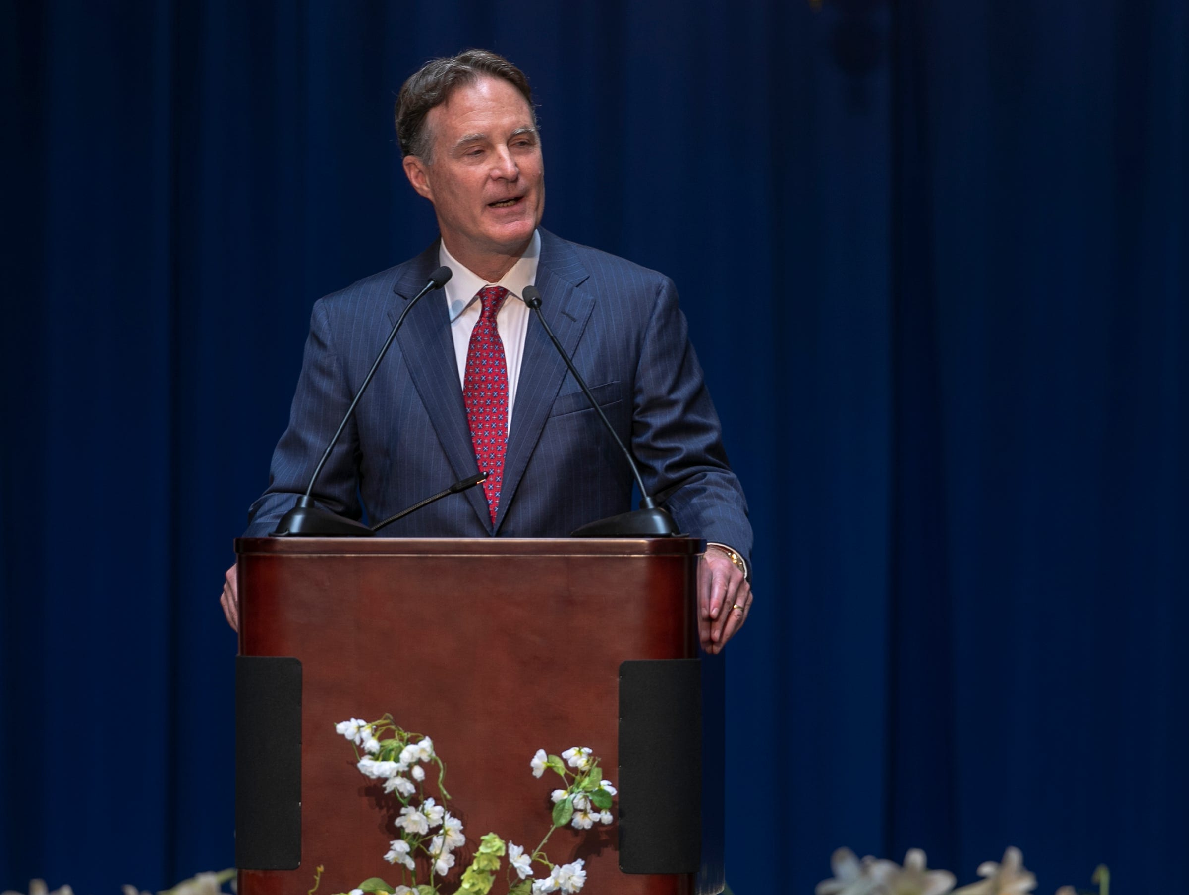 Evan Bayh speaks during a service for his father, Indiana's Birch Bayh, who died on March 14, and was a three-term U.S. Senator, Indiana Statehouse, Indianapolis, Wednesday, May 1, 2019.