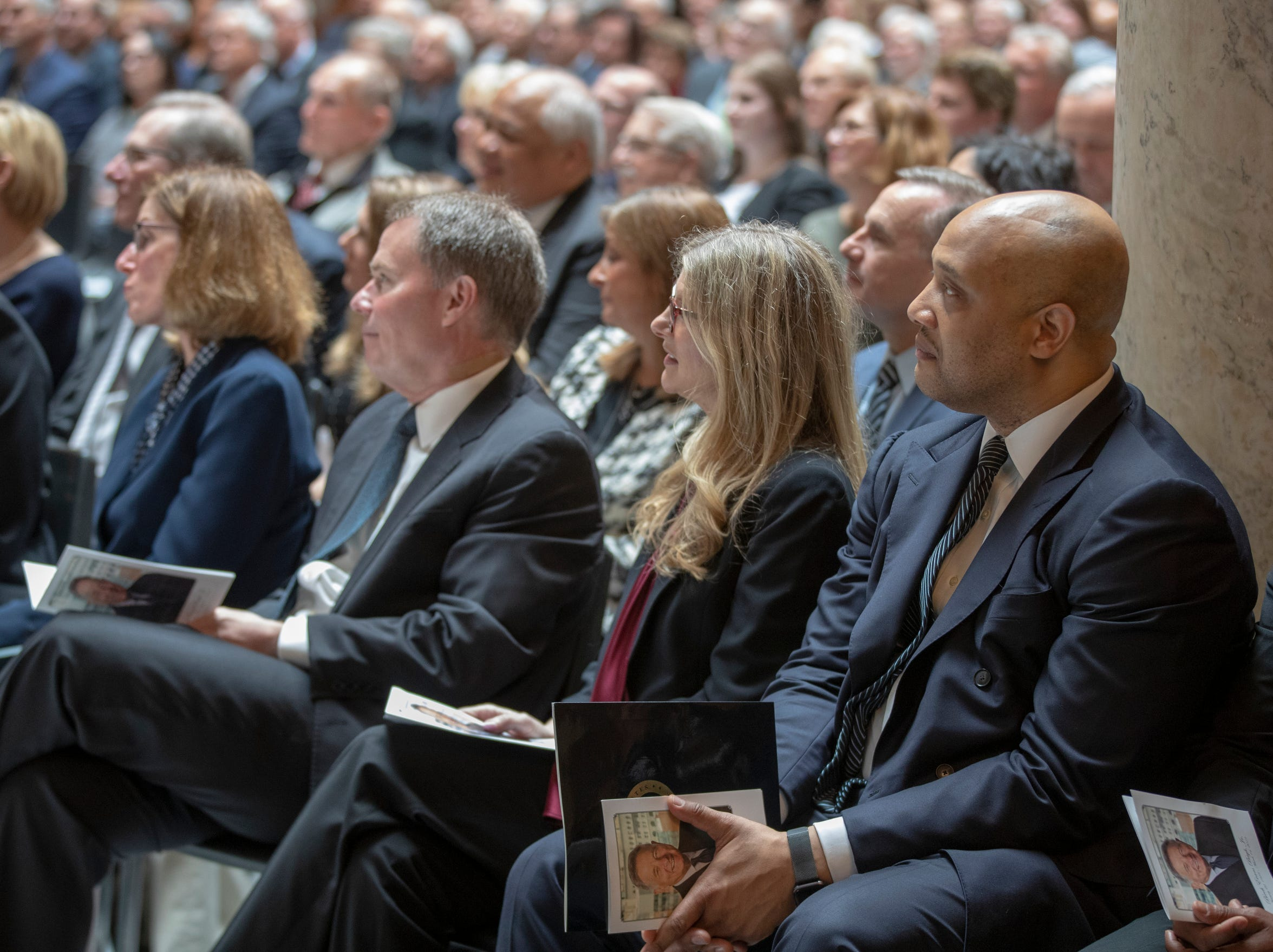 Andre Carson, U.S. Representative, during a service for Indiana's Birch Bayh, who died on March 14, and was a three-term U.S. Senator, Indiana Statehouse, Indianapolis, Wednesday, May 1, 2019.