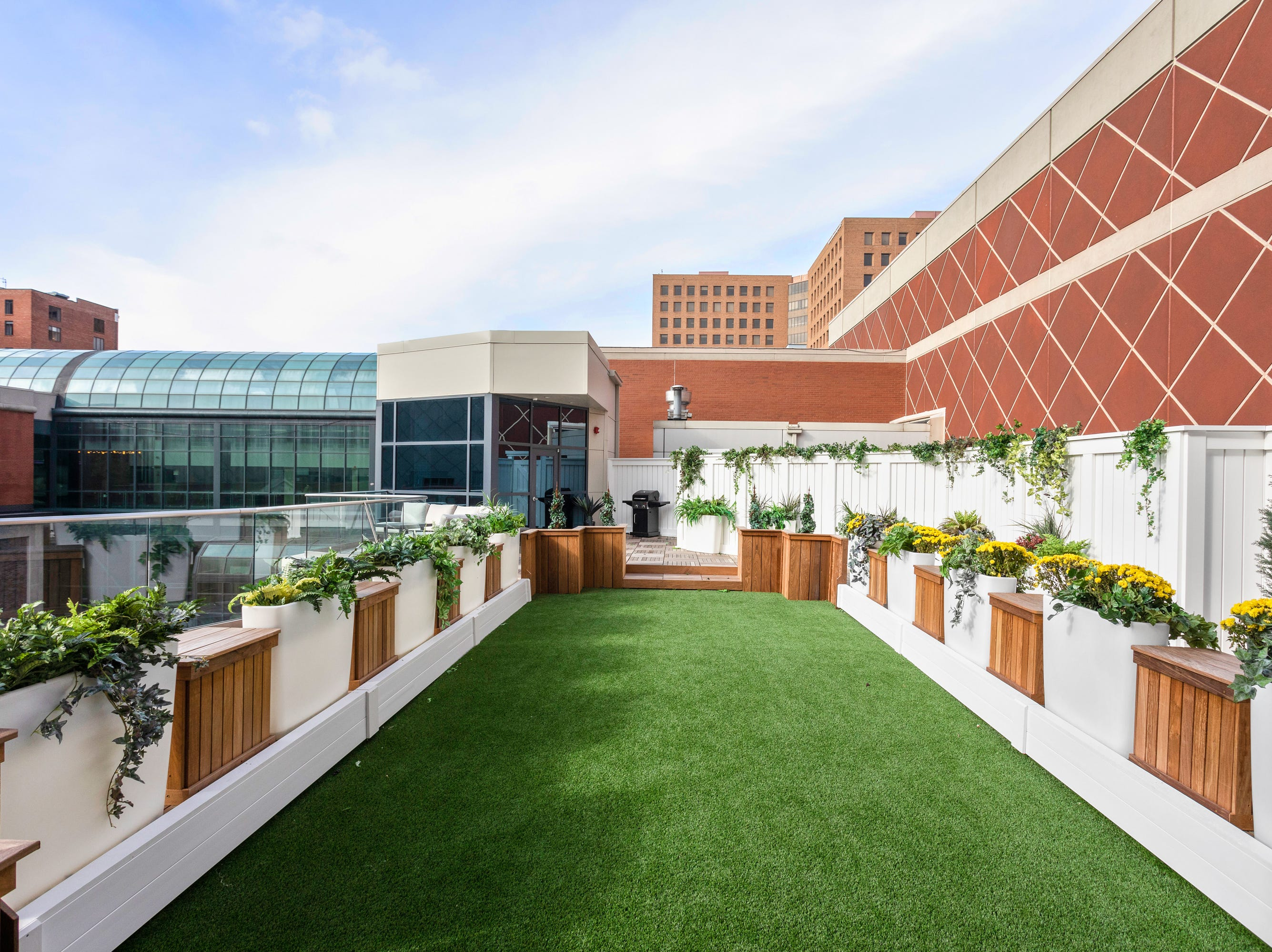The rooftop terrace has a putting green.