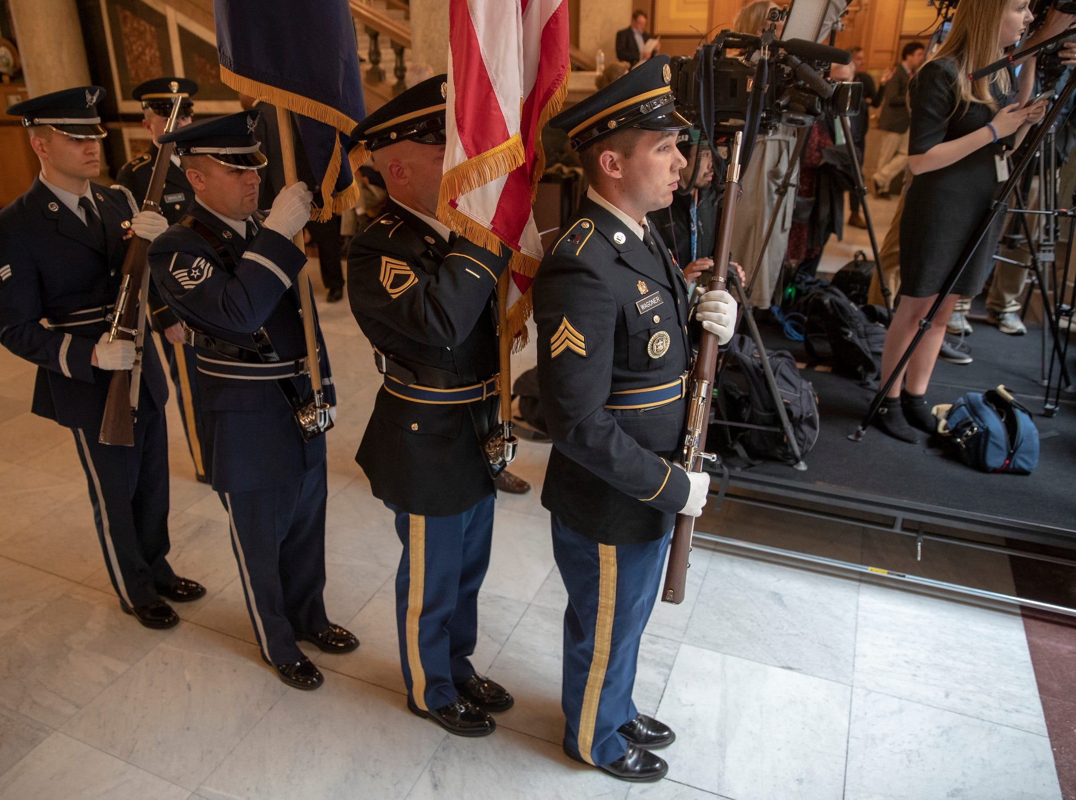A color guard before a service for Indiana's Birch Bayh, who died on March 14, and was a three-term U.S. Senator, Indiana Statehouse, Indianapolis, Wednesday, May 1, 2019.