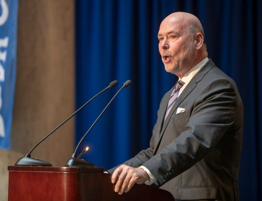 Brian Bosma, Indiana's Speaker of the House, during a service for Indiana's Birch Bayh, who died on March 14, and was a three-term U.S. Senator, Indiana Statehouse, Indianapolis, Wednesday, May 1, 2019.