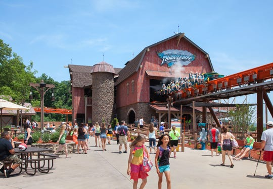 The Thunderbird launch plaza at Holiday World & Splashin' Safari in Santa Claus, Ind.