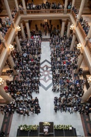 A packed house for a service for Indiana's Birch Bayh, who died on March 14, and was a three-term U.S. Senator, Indiana Statehouse, Indianapolis, Wednesday, May 1, 2019.