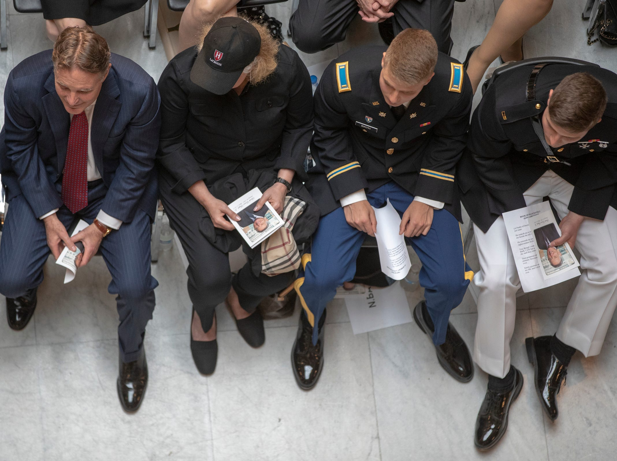 From left, Evan, Susan, Nick, and Beau, attend a service for Indiana's Birch Bayh, who died on March 14, and was a three-term U.S. Senator, Indiana Statehouse, Indianapolis, Wednesday, May 1, 2019.