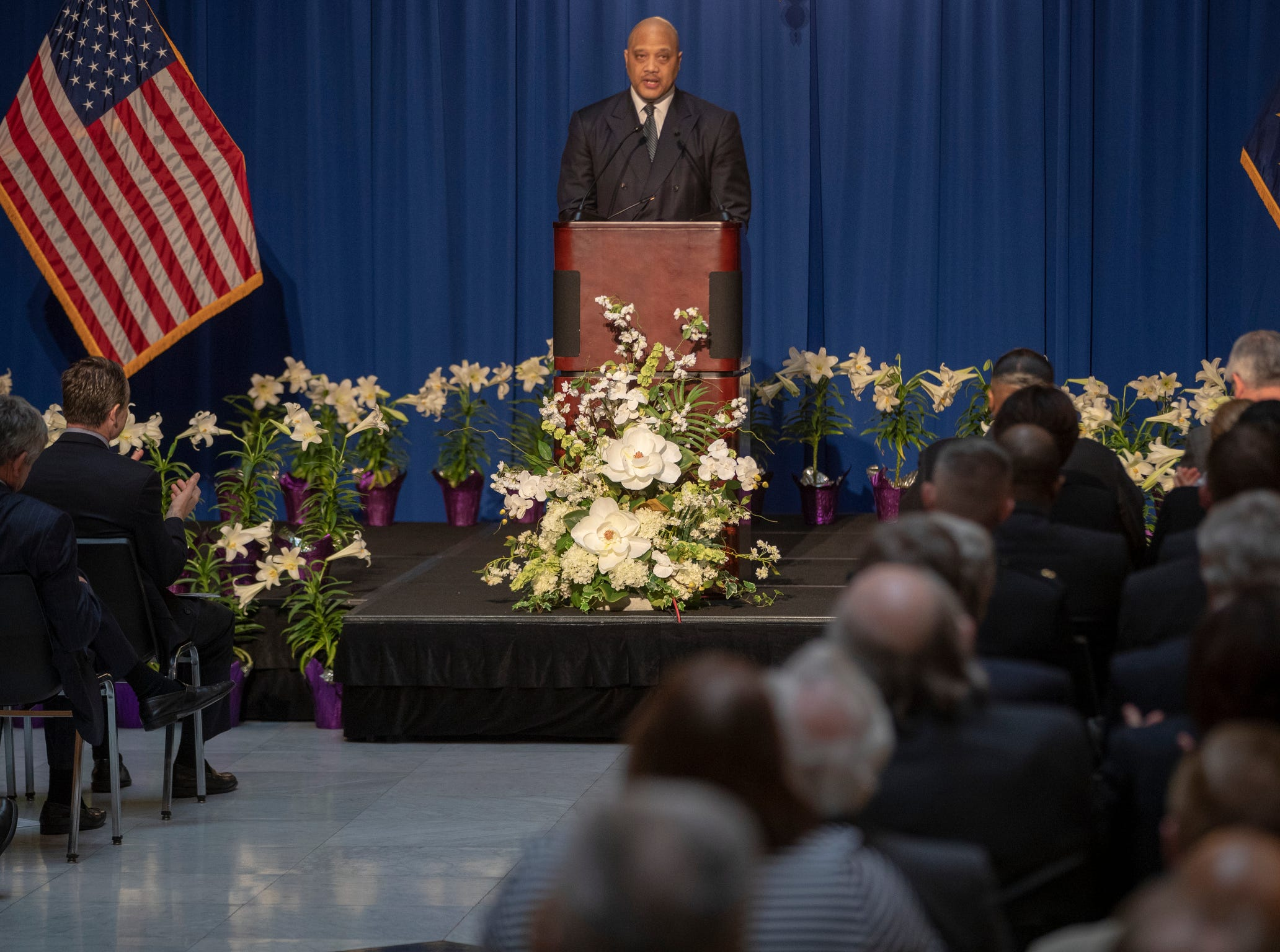 Andre Carson, U.S. House of Representatives speak during a service for Indiana's Birch Bayh, who died on March 14, and was a three-term U.S. Senator, Indiana Statehouse, Indianapolis, Wednesday, May 1, 2019.