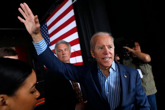 Former Vice President and Democratic presidential candidate Joe Biden waves to supporters after speaking at a rally, Wednesday, May 1, 2019, in Iowa City, Iowa.
