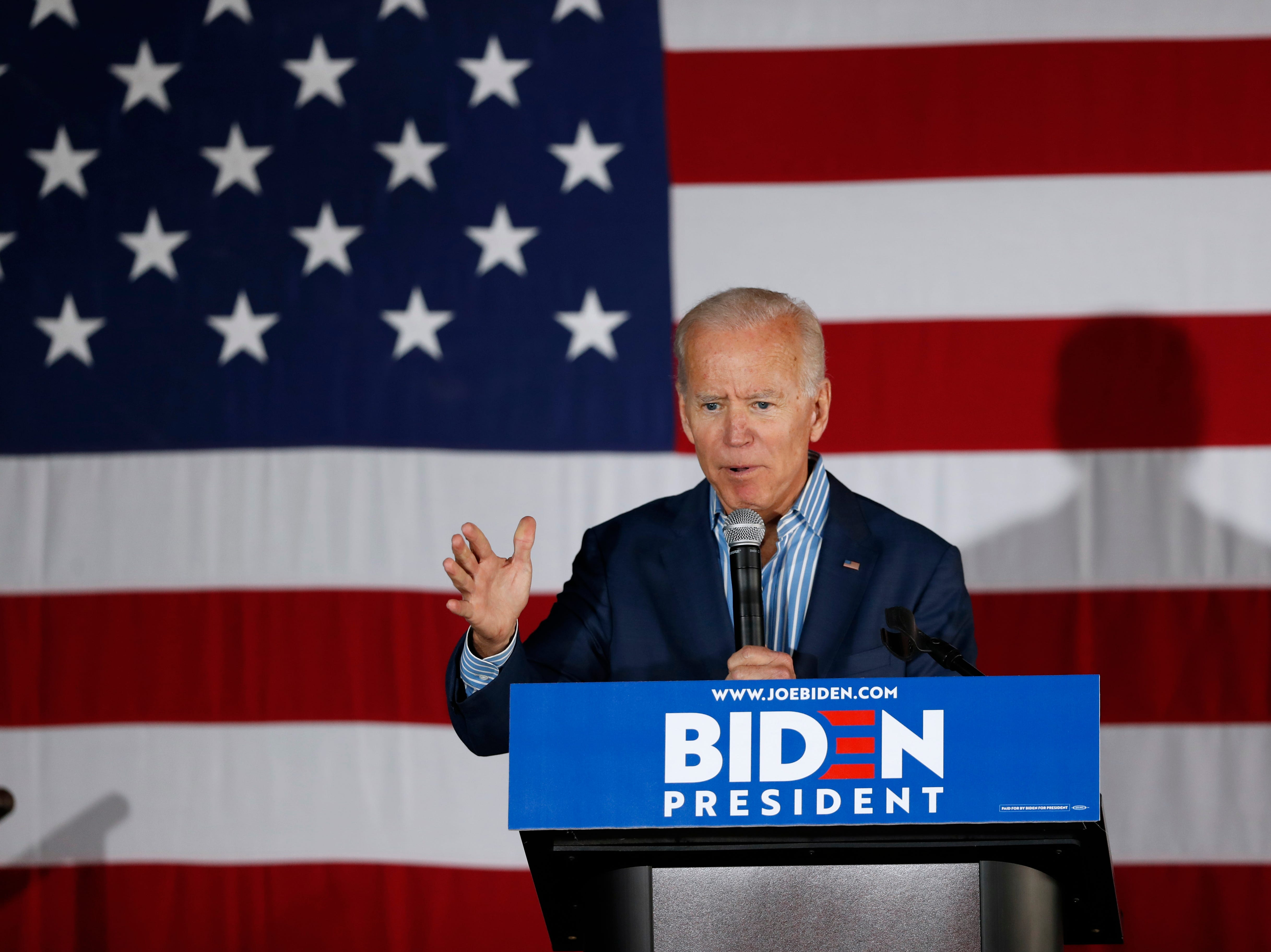 Former Vice President and Democratic presidential candidate Joe Biden speaks during a rally, Wednesday, May 1, 2019, in Iowa City, Iowa.