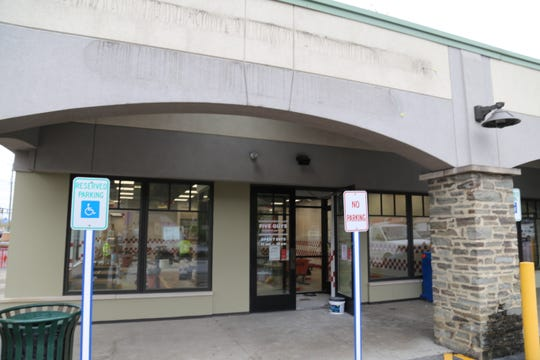 Five Guys Burgers & Fries in Ithaca was missing its restaurant sign on Wednesday, May 1. The business is being renovated and will reopen May 6.