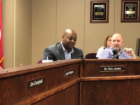 Jackson-Madison County Schools System Superintendent Dr. Eric Jones listens as the school board discusses his June 30 resignation at a special-called board meeting Tuesday