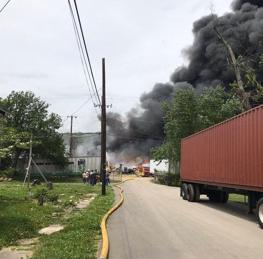 Knoxville fire crews battle blaze at Fort Loudon recycling center