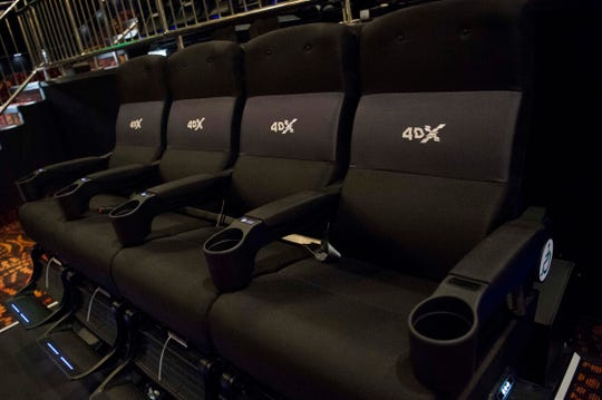 A row of 4DX seats are seen in Regal's new 4DX auditorium at Knoxville's Regal Pinnacle theatre in Turkey Creek, Wednesday, May 1, 2019.