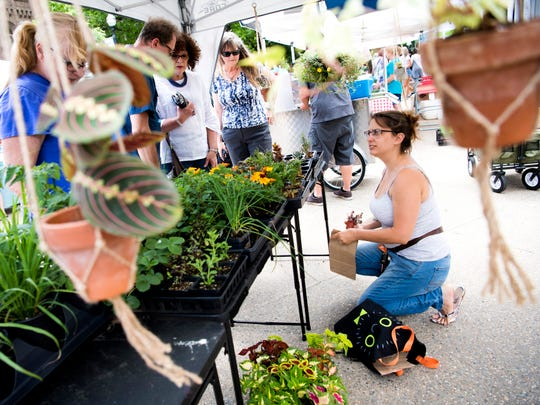 Danielle Merritt with Pocket Gardeners bags a plant she sold at the Market Square Farmers Market, which had its opening day in downtown Knoxville on Wednesday, May 1, 2019.