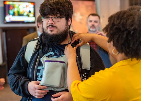 Top Super Smash Bros. player Gonzalo  Barrios judging the designs as UL design students spend spring semester developing streaming backpack for top e-sport athlete. Wednesday, May 1, 2019.