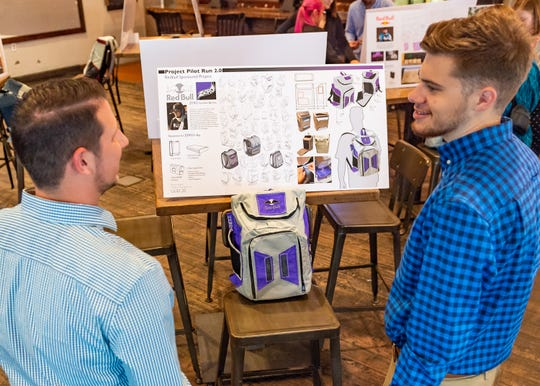 UL design students spend spring semester developing streaming backpack for top e-sport athlete. Wednesday, May 1, 2019.