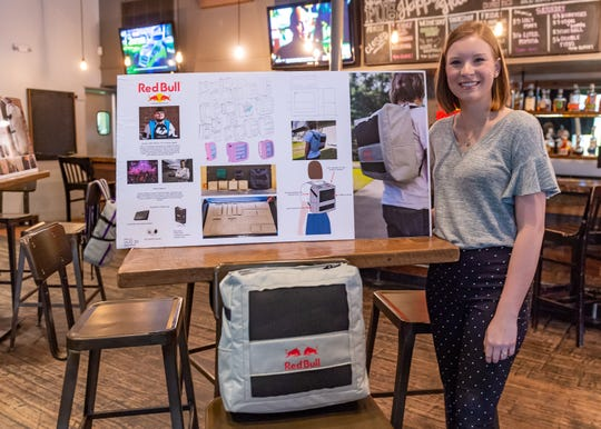 Industrial Design student Dallis Miller with the bag she designed for the competition as UL design students spend spring semester developing streaming backpack for top e-sport athlete. Wednesday, May 1, 2019.