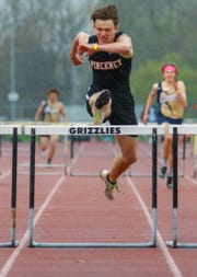 Dylan Deck of Pinckney wins the 300-meter hurdles, completing a sweep of the hurdles, in a tri-meet with Chelsea and Ypsilanti at Tuesday, April 30, 2019.