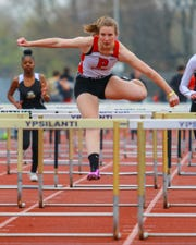 Pinckney's Olivia Soronen won the 100-meter hurdles in a tri-meet against Chelsea and Ypsilanti on Tuesday, April 30, 2019.