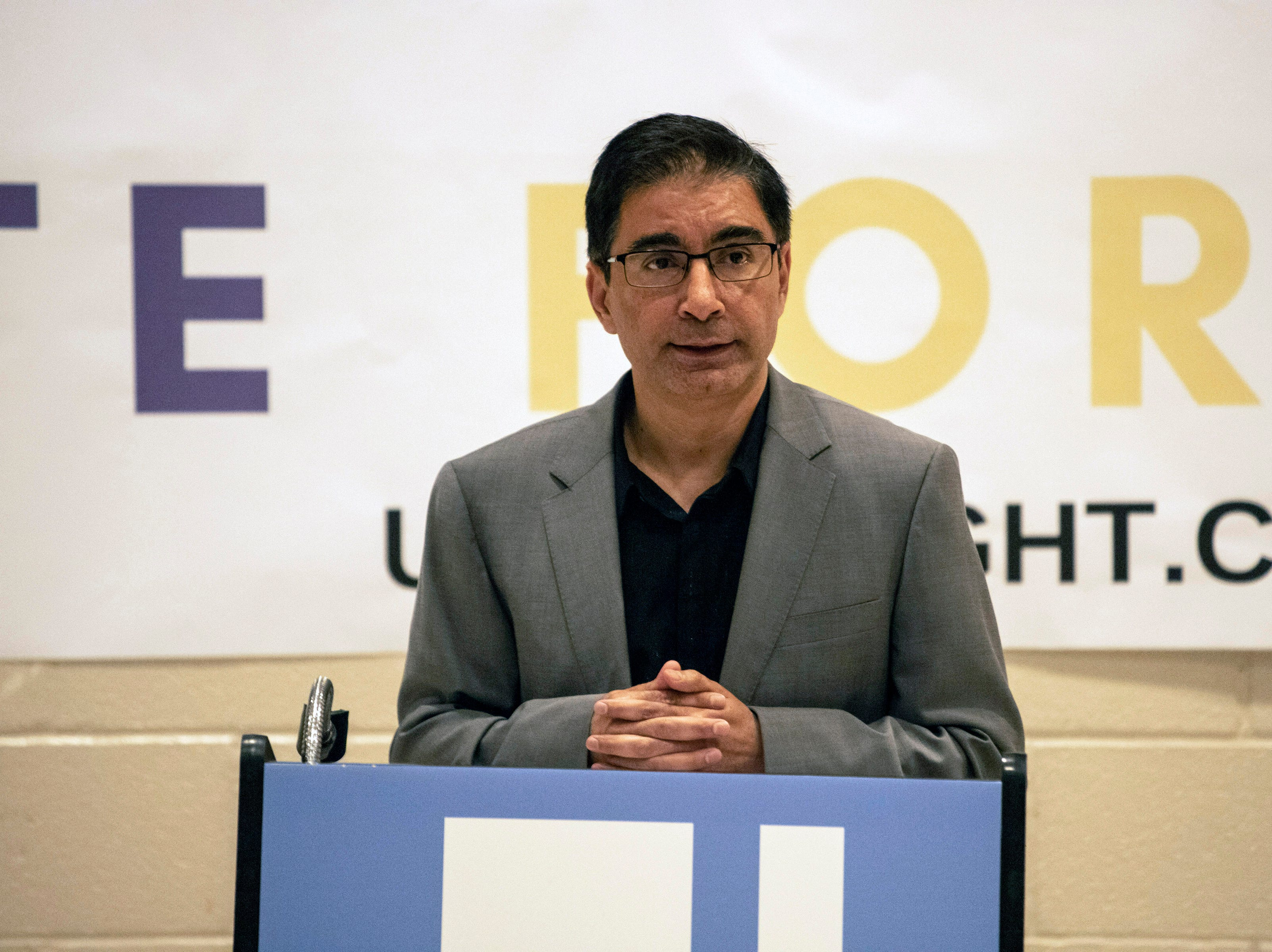 Dr. Muhammad Babar, president of the Muslim Americans for Compassion, was one of the featured speakers at a Unite For Light service at the Jewish Community Center on Tuesday night. April 30, 2019