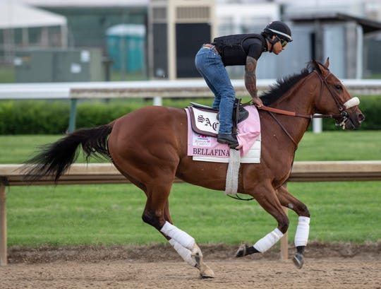 Bellafina trains at Churchill Downs prior to the Kentucky Oaks. May 1, 2019.