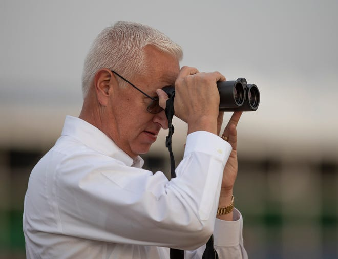 Trainer Todd Pletcher keeps an eye on his Kentucky Derby horses, Spinoff and Cutting Humor while during on track training. May 1, 2019.