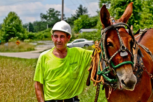 """The Peoples Rural Telephone Cooperative hired R.C. Hibbitts and his mule, """"Old Bub,"""" to help string fiber-optic cable in the most rugged areas of eastern Kentucky's Jackson and Owsley counties."""