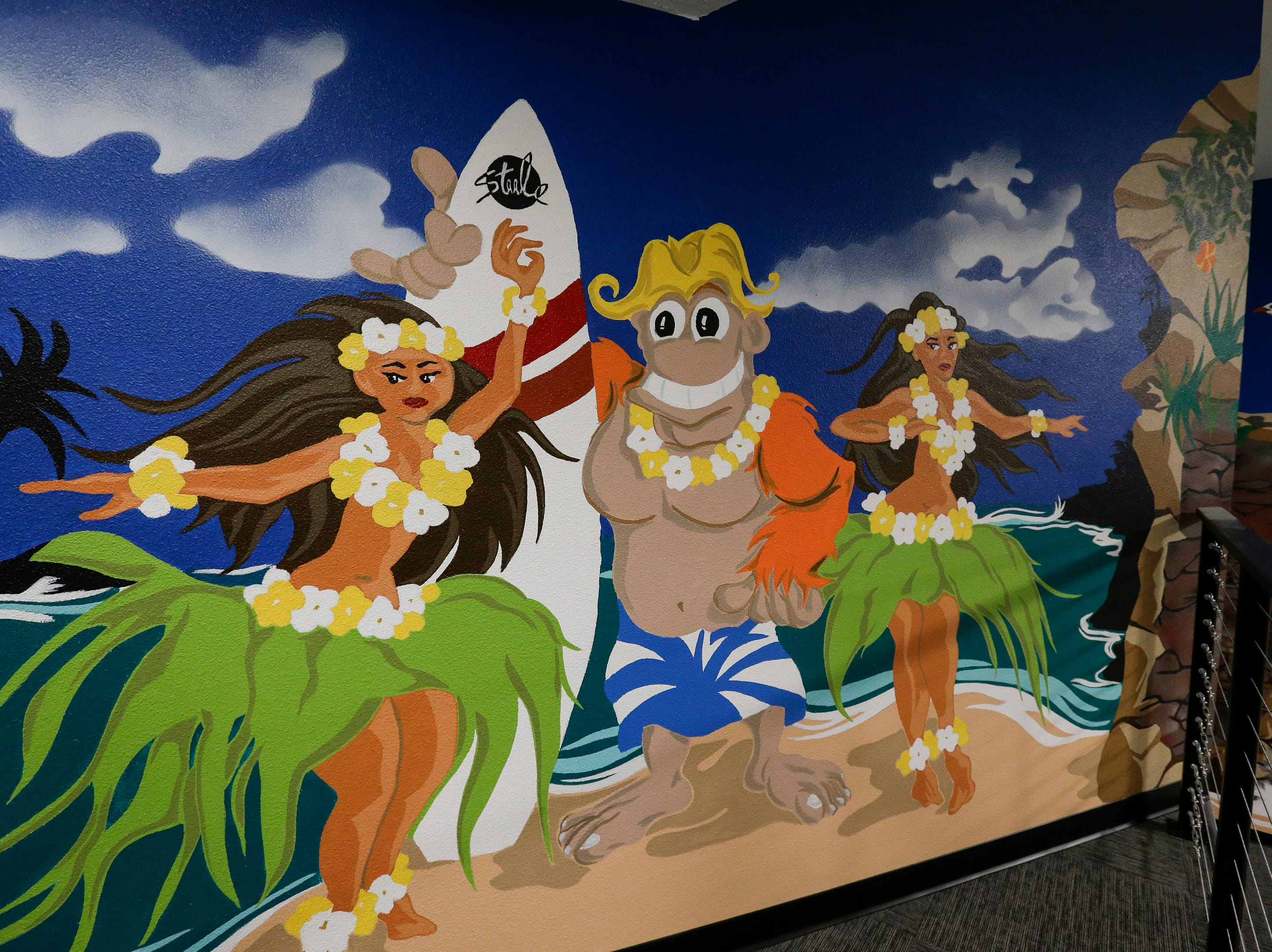 A detail of a mural in a party room at Strand Adventures Wednesday, May 1, 2019, in Manitowoc, Wis. Joshua Clark/USA TODAY NETWORK-Wisconsin