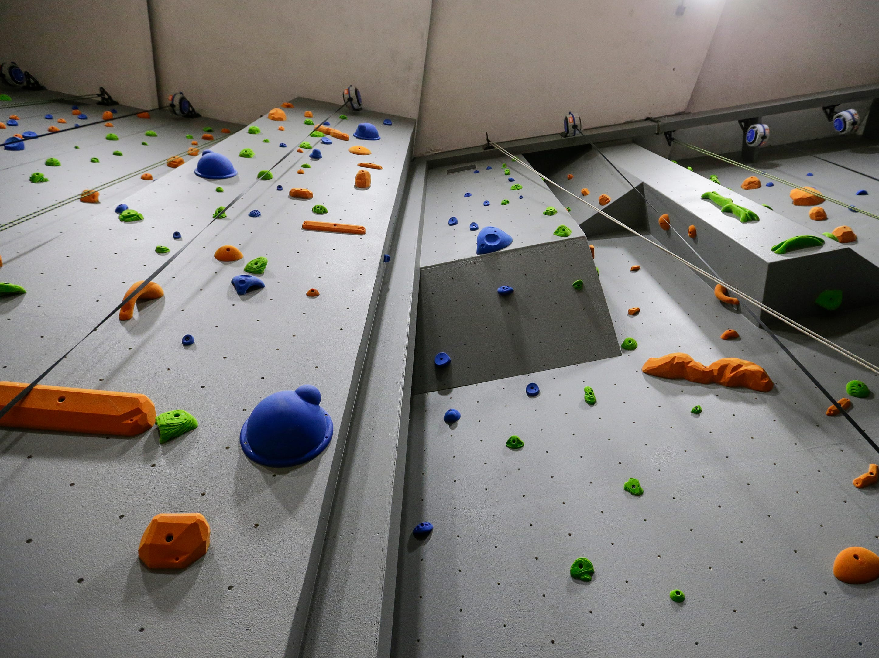 The climbing wall at Strand Adventures Wednesday, May 1, 2019, in Manitowoc, Wis. Joshua Clark/USA TODAY NETWORK-Wisconsin